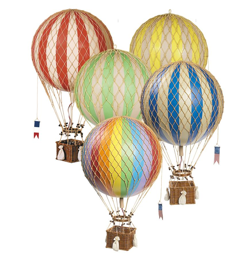 Vintage Hot Air Balloon (Rainbow) – Large