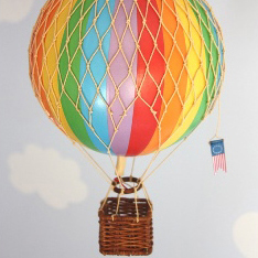 Vintage Hot Air Balloon (Rainbow) – Medium