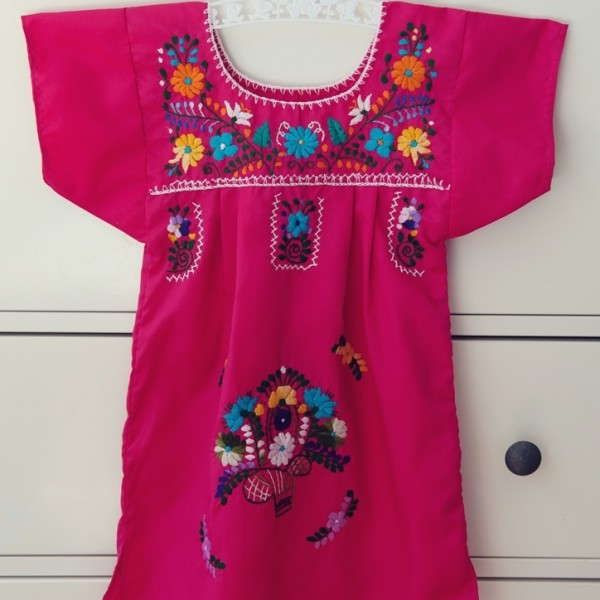 Pink mexican dress square
