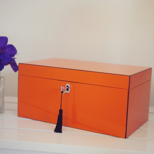 Large Hermes Orange Lacquered Jewellery Box