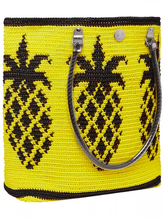 yellow and black pineapple tote