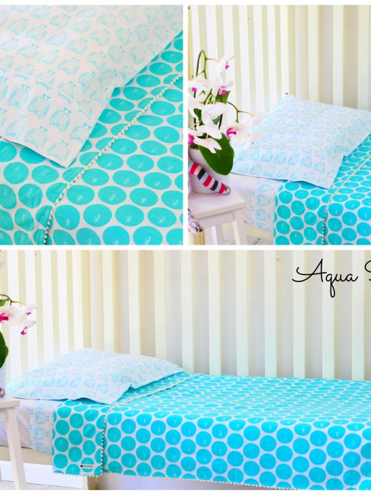 cot set aqua spot collage 2