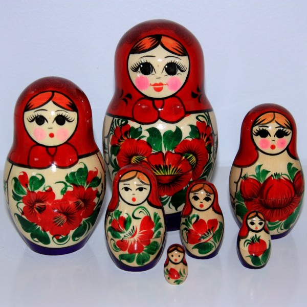 Babushka Nesting Dolls Red-Purple