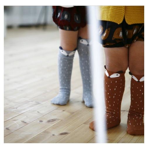 raccoon knee socks brown image three