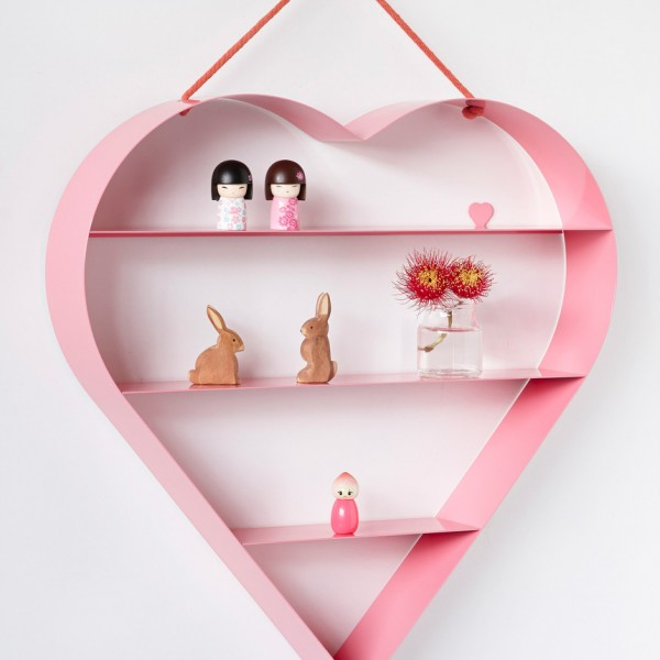 pink heart shelf