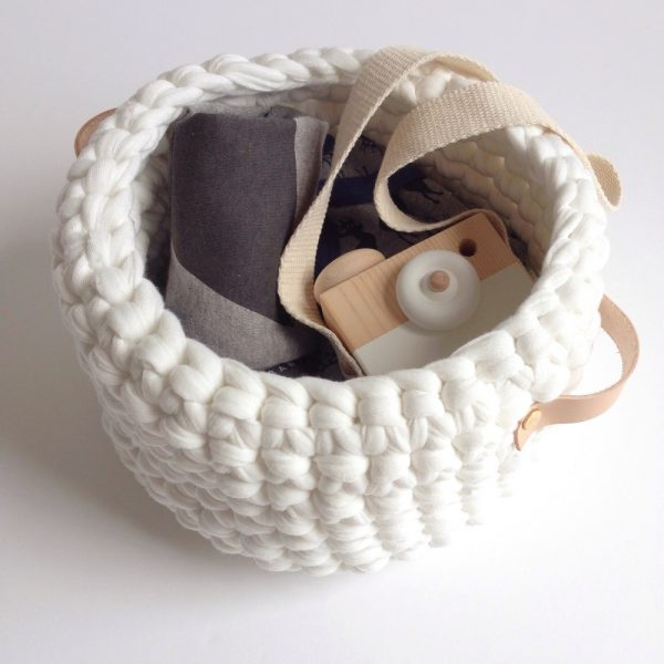 white leather handle basket