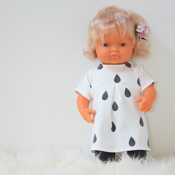 Miniland doll with raindrop dress and leggings