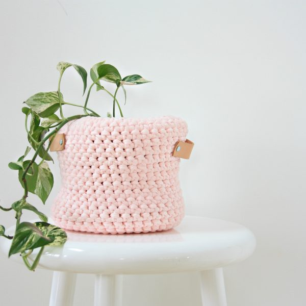 pink crocheted basket one