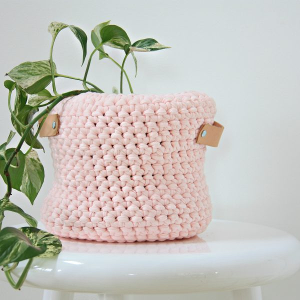 pink crocheted basket two