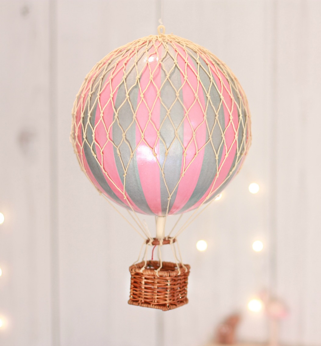 Pink And Silver Vintage Hot Air Balloon Medium Oliver